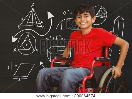 Digital composite of Disabled boy in wheelchair in front of blackboard with diagram drawings