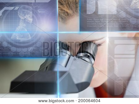 Digital composite of Female Student studying with microscope and science education interface graphics overlay