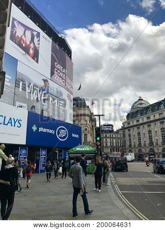 LONDON - AUGUST 15, 2017: Temporary billboards replace the electric advertising at Piccadilly Circus, London, UK.