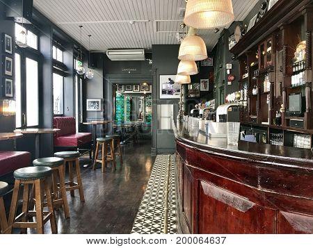 LONDON - AUGUST 15, 2017: Victorian pub interior in Soho, London, UK.