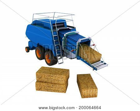 Press Pick-up For Hay Blue 3D Render On White Background No Shadow