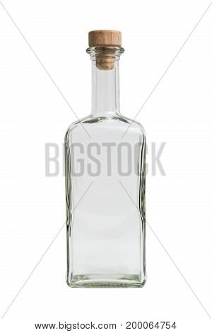 Glass transparent clean empty single shiny beautiful simple square bottle with a plug on isolated white background.