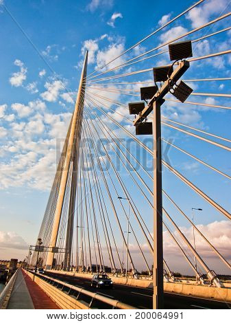 Cable bridge at Sava river over Ada river island in Belgrade, Serbia