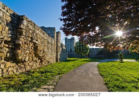 North wall of Kalemegdan fortress was the main line of defence for more than two milleniums, Belgrade, Serbia