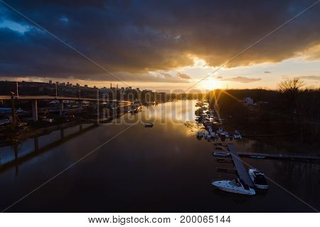 Sunset over Ada marine channel in Belgrade, Serbia