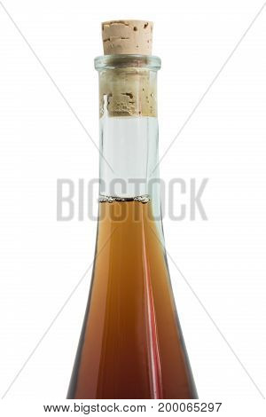 Glass clean single shiny beautiful elegant round closed bottle of an alcohol drink like wisky, cognac, rom or liquor with a plug on isolated white background.