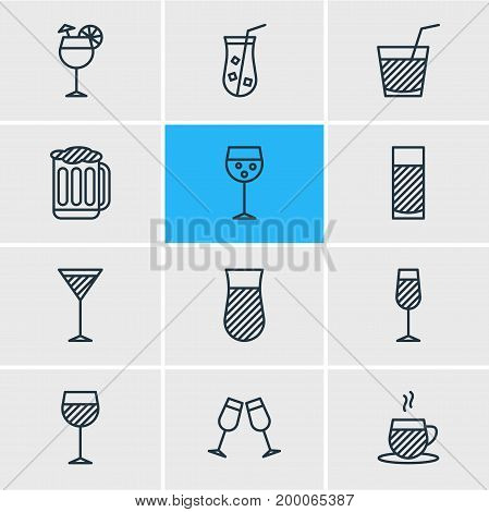 Editable Pack Of Juice, Martini, Celebrate And Other Elements.  Vector Illustration Of 12 Drinks Icons.