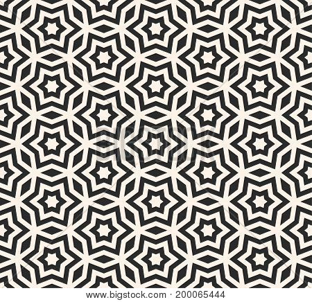 Vector seamless pattern, geometric ornament texture with linear stars, angular geometric figures. Abstract geometric monochrome background, repeat tiles. Design for prints, decor, furniture, fabric.