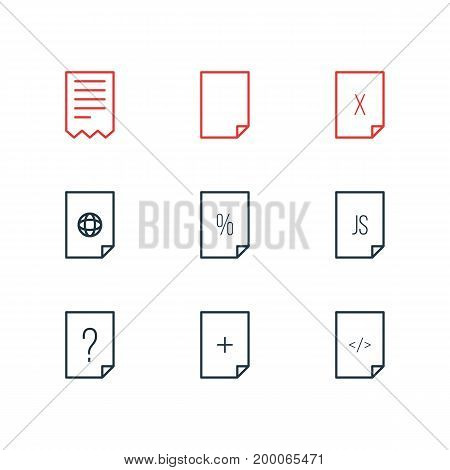 Editable Pack Of Internet, Question, Plus And Other Elements.  Vector Illustration Of 9 Page Icons.