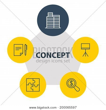 Editable Pack Of Riddle, Board Stand, Agreement Elements.  Vector Illustration Of 5 Business Icons.