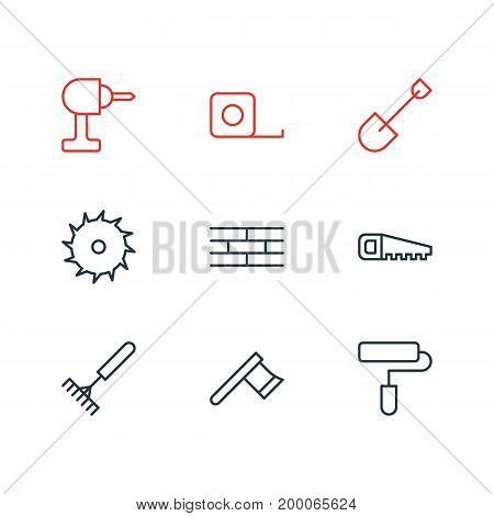Editable Pack Of Hatchet, Circle Blade, Hacksaw And Other Elements.  Vector Illustration Of 9 Structure Icons.
