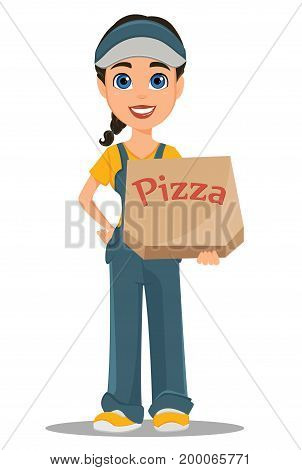 Courier woman holding box with tasty hot pizza. Professional fast delivery. Cute cartoon character. Vector illustration.
