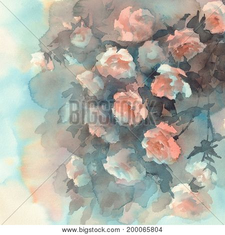 Bouquet of light roses watercolor background. Birthday card