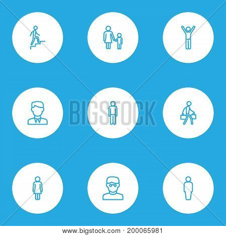 Human Outline Icons Set. Collection Of Female, Rejoicing, Worker And Other Elements