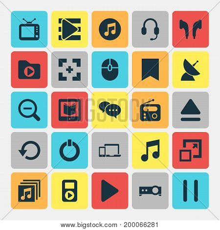 Media Icons Set. Collection Of Begin, Magnifying, Media Folder And Other Elements