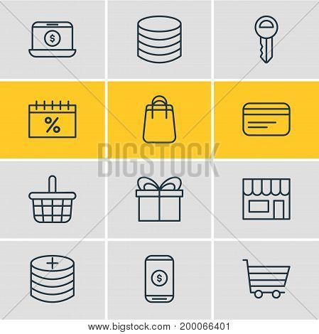 Editable Pack Of Present, Clef, Pottle And Other Elements.  Vector Illustration Of 12 Commerce Icons.