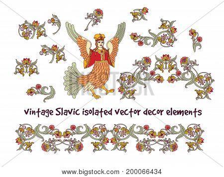 Old Slavic vintage decor elements set isolate on white. Color vector illustration. EPS8