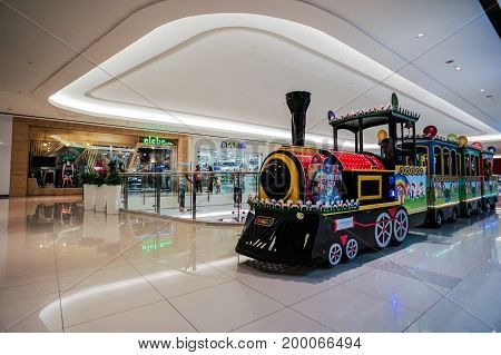 Kota Kinabalu,Sabah-May 29,2017:View of an amusement train inside in the Imago shopping mall in Kota Kinabalu,Sabah, Malaysia.The biggest shopping mall at Kota Kinabalu town which was at the center of city.