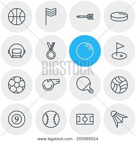 Editable Pack Of Racer Hat, Batting, Blower And Other Elements.  Vector Illustration Of 16 Sport Icons.