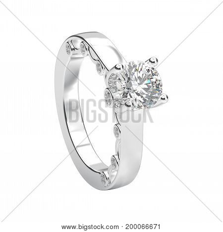 3D illustration isolated white gold or silver romantic engagement ring on a white background