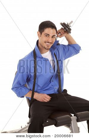 Business Man Weights Over Shoulder Smile
