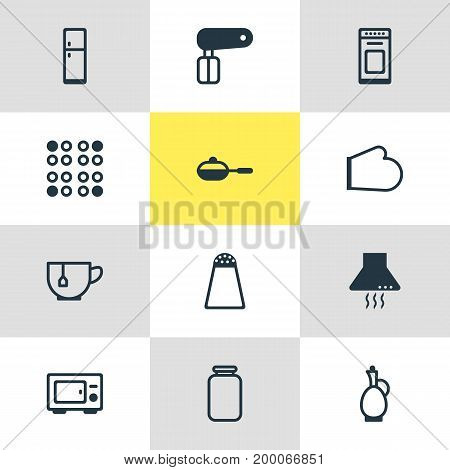 Editable Pack Of Pan, Pepper Container, Oven Mitts And Other Elements.  Vector Illustration Of 12 Kitchenware Icons.