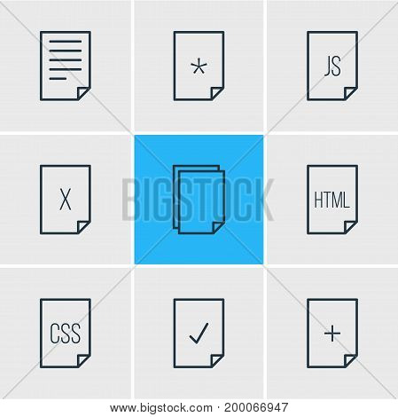 Editable Pack Of Document, Done, Remove And Other Elements.  Vector Illustration Of 9 Paper Icons.