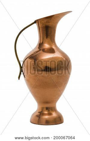 Antic gold old engraved scratched shabby burgundy red metal jug in oriental eastern indian style with elegant handle on isolated white background.