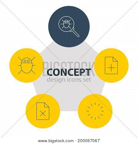 Editable Pack Of Waiting, Bug, Document Adding And Other Elements.  Vector Illustration Of 5 Web Icons.