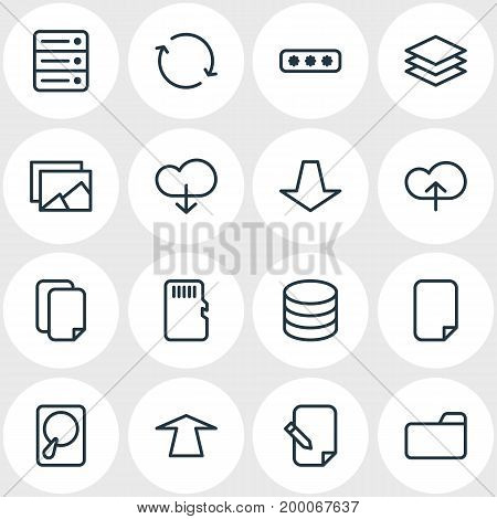 Editable Pack Of Memory, Gallery, Upward And Other Elements.  Vector Illustration Of 16 Memory Icons.