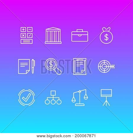 Editable Pack Of Building, Scheme, Balance And Other Elements.  Vector Illustration Of 12 Business Icons.