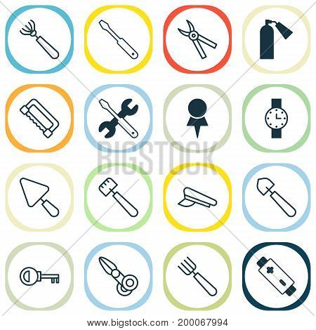 Equipment Icons Set. Collection Of Password, Screwdriver With Wrench, Cop Cap And Other Elements