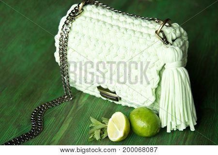 Handmade Knitted bag. Ladies handmade bag. Knitting