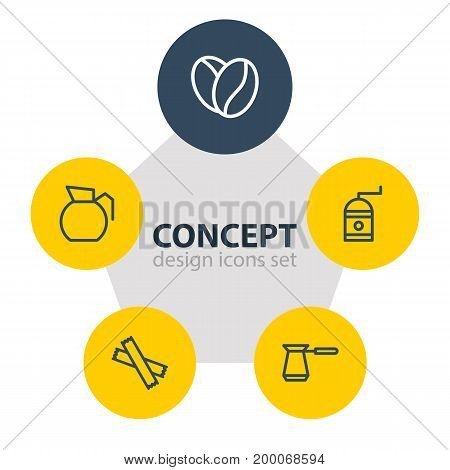 Editable Pack Of Decanter, Mill, Sweetener And Other Elements.  Vector Illustration Of 5 Drink Icons.