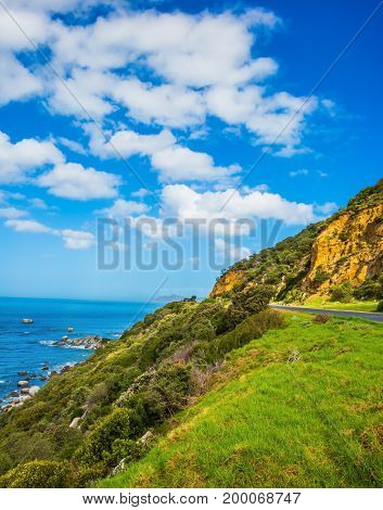 The road to the famous Cape of Good Hope. Travel to South Africa. The concept of active tourism and recreation