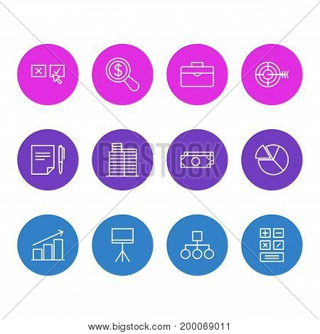 Editable Pack Of Cash, Agreement, Columns And Other Elements.  Vector Illustration Of 12 Management Icons.