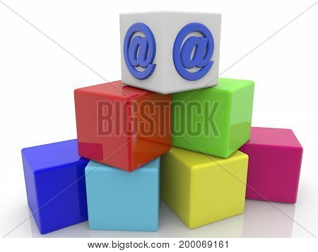 Commercial sign at on the top of toy cubes . 3D illustration