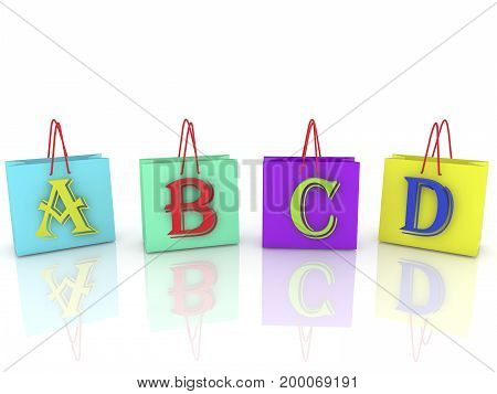 Shopping bags with letters on white . 3D illustration