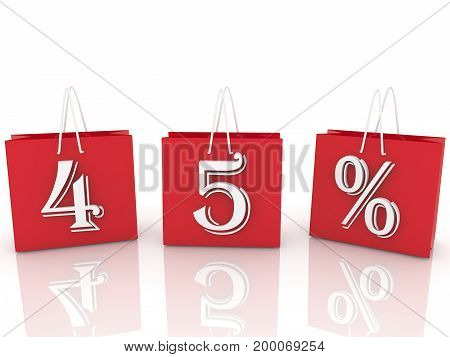 Shopping bags with inscription 45 percents . 3D illustration