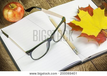 Glasses , notebook , pen and autumn leaves .