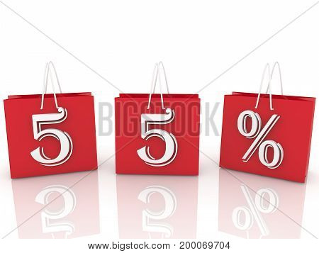 Shopping bags with inscription 55 percents . 3D illustration
