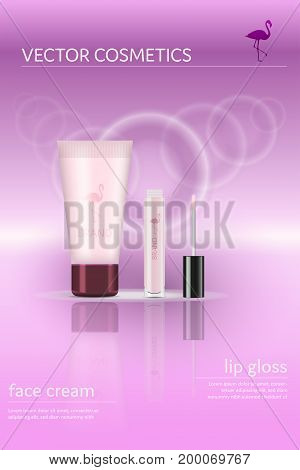 Brand. Make up set with lip gloss and face cream. Flamingo logo and text fields.