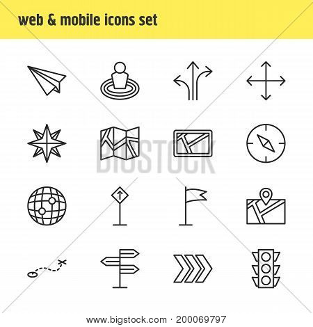 Editable Pack Of Stoplight, Pennant, World And Other Elements.  Vector Illustration Of 16 Direction Icons.