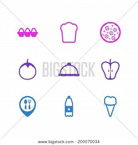 Editable Pack Of Container, Jonagold, Sundae And Other Elements.  Vector Illustration Of 9 Eating Icons.