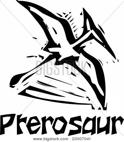 Woodcut Pterosaur Dinosaur