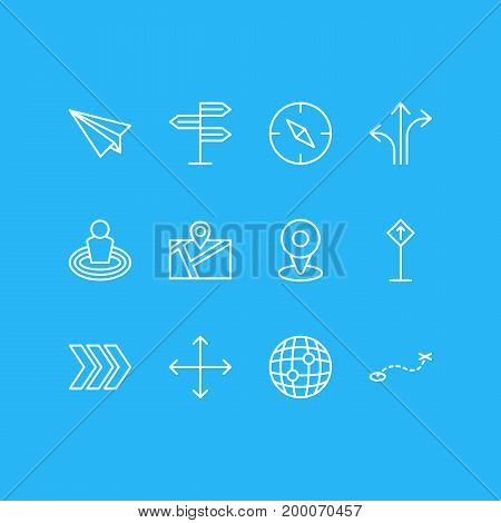 Editable Pack Of Pin, Place, Location And Other Elements.  Vector Illustration Of 12 Navigation Icons.