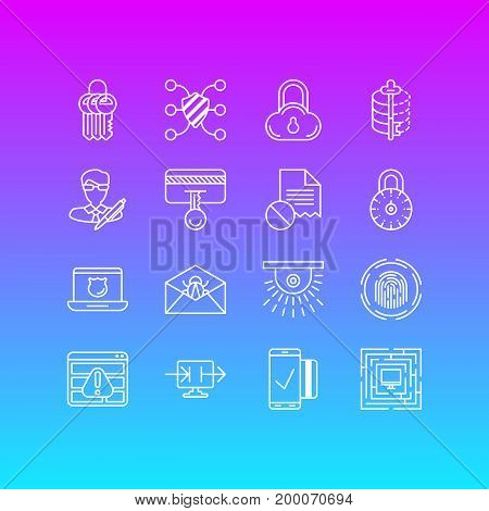 Editable Pack Of Corrupted Mail, Finger Identifier, Encoder And Other Elements.  Vector Illustration Of 16 Privacy Icons.