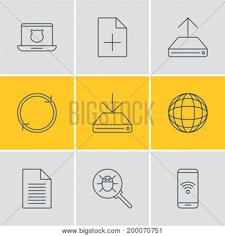 Editable Pack Of World, Information Load, Hdd Sync And Other Elements.  Vector Illustration Of 9 Network Icons.