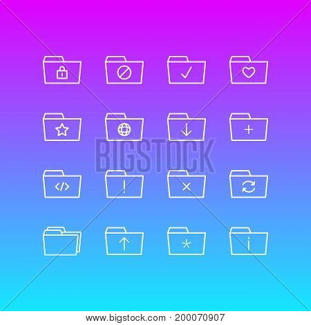 Editable Pack Of Upload, Recovery, Submit And Other Elements.  Vector Illustration Of 16 Folder Icons.