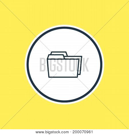 Beautiful Document Element Also Can Be Used As Folders  Element.  Vector Illustration Of Dossier Outline.